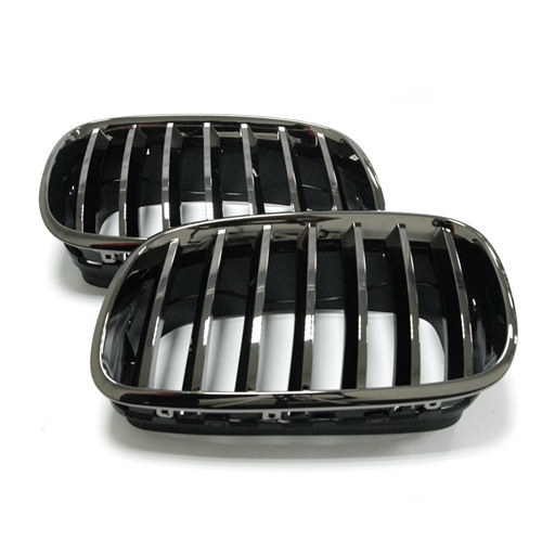 BMW X5 X6 07+ Black Chrome Front Grille