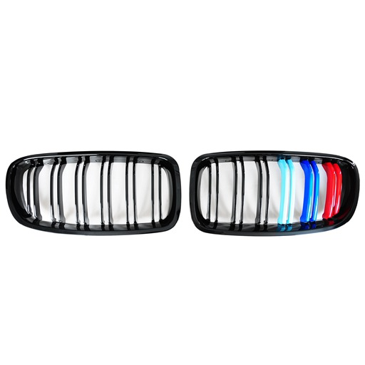M3-Style Double Slats+Shiny Black+Performance-Style Front Grille for BMW F30/F31/F35 (PreLCI、LCI)