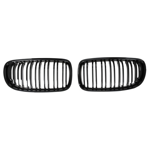 Double Salt Glossy Black Kidney Grille For BMW E90 E91 LCI 09-11