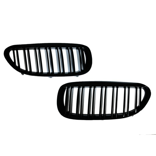 Double Salt Glossy Black Kidney Grille For BMW E63 / E64