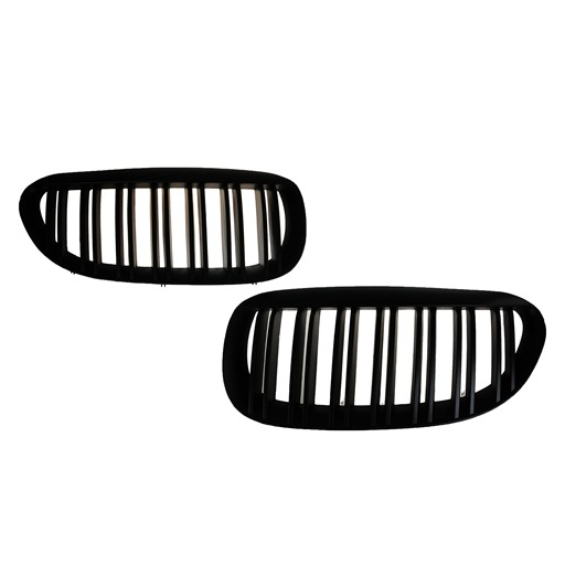 Double slats matte Black Kidney Grille For BMW E63 / E64