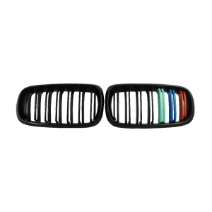 Double Slats+Shiny Black+3color Front Grille for BMW X5(F15) X6(F16), ABS