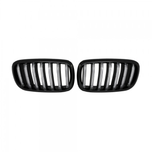 Single Slat+Shiny Black+LED White Bar Front Grille for BMW X5(F15) X6(F16), ABS