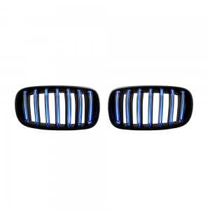 Single Slat+Shiny Black+LED Blue Bar Front Grille for BMW X5(F15) X6(F16), ABS