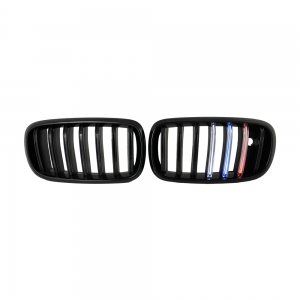 Single Slat+Shiny Black+LED 3 color Front Grille for BMW X5(F15) X6(F16), ABS