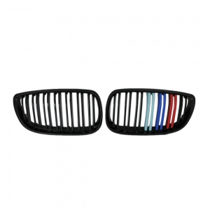 Double Slats+Shiny Black+3 color Front Grille for BMW E92 E93 (2006~09), ABS