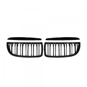 Double Slats+Shiny Black Front Grille for BMW E90 E91 (2005~08), ABS