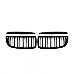 Double Slats+Matte Black Front Grille for BMW E90 E91 (2005~08), ABS