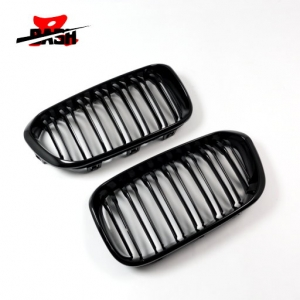 Double Slats+Shiny Black Front Grille for BMW F20 LCI / F21 LCI, ABS