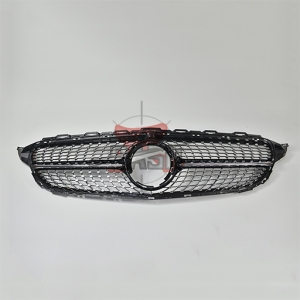 For Merecedes  W205 C Class 19- Stars WO Camera Shiny Black Grill