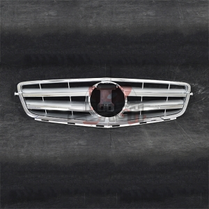 For Mercedes W204(C63 LOOK) SHINY SILVER GRILLE  07-13 C CLASS