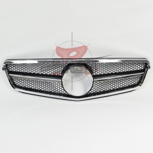 For Mercedes W204(NEW C63 LOOK)SHINY BLACK  SMALL NET GRILLE 07-13 C CLASS