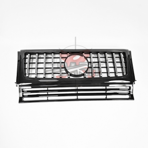 For Mercedes W463 G63 LOOK SHINY BLACK CHROME GRILLE  1990-2018 G CLASS