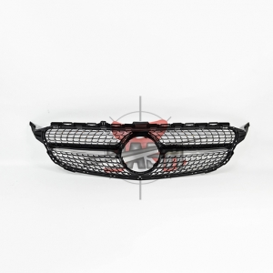 For Mercedes W205(C43  LOOK) SHINY BLACK GRILLE  14- C CLASS
