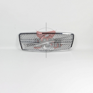 For Mercedes W210(G63  LOOK) SHINY SILVER GRILLE  96-99 E CLASS