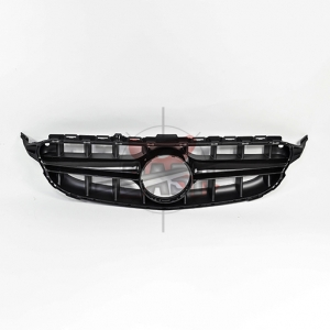 For Mercedes W205(NEW E63  LOOK) SHINY BLACK GRILLE  14- C CLASS